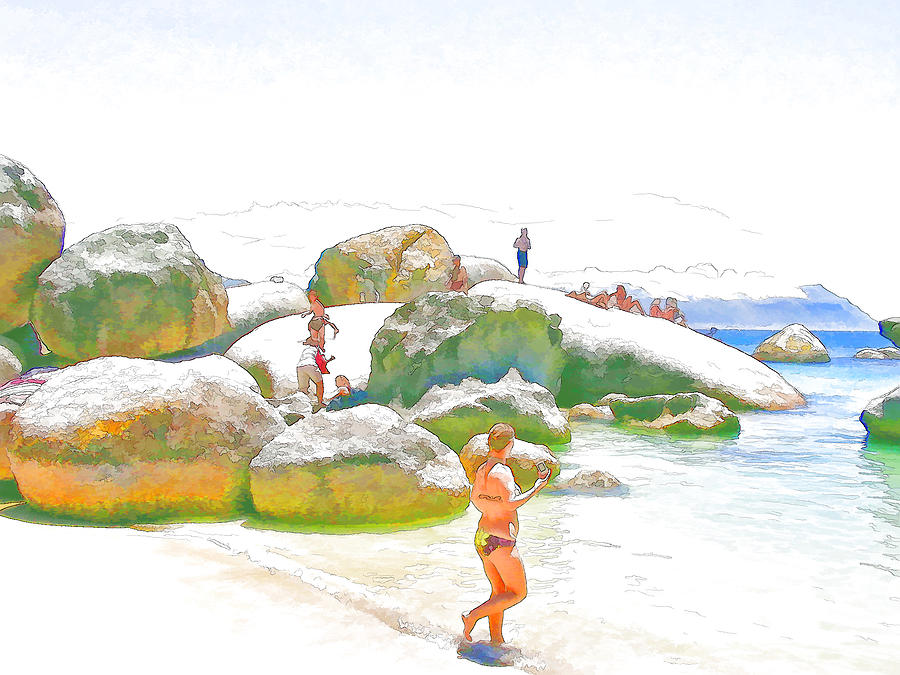 Sea Digital Art - Day Off At Boulders by Jan Hattingh
