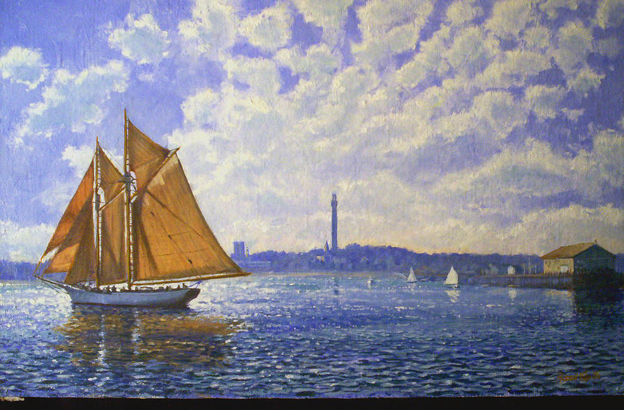 Landscape Painting - Day Sail From Provencetown by Russell Vujs