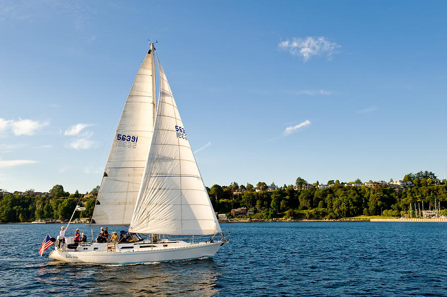 Seattle Photograph - Day Sail by Tom Dowd