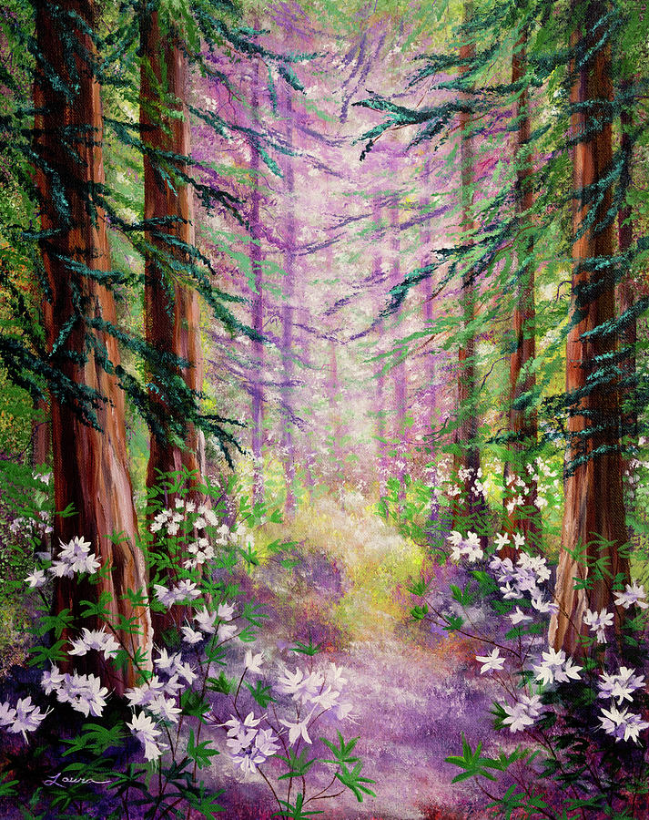 Daybreak In Springtime Redwood Trees Painting by Laura Iverson Redwood Tree Painting