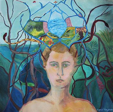 Figure Painting - Daydream Crown by Ingrid Torjesen