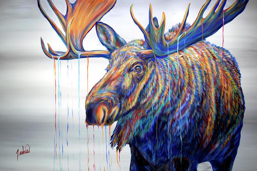 Moose Painting - Daydreamer by Teshia Art