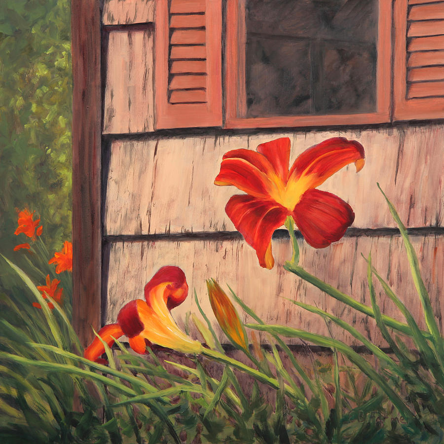 Daylily Painting - Daylilies At The Shed by Elaine Farmer