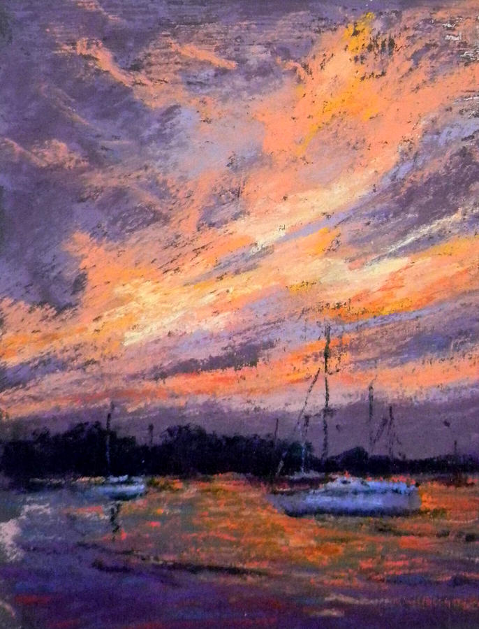 Sunset Painting - Days End by Lorrie Turner