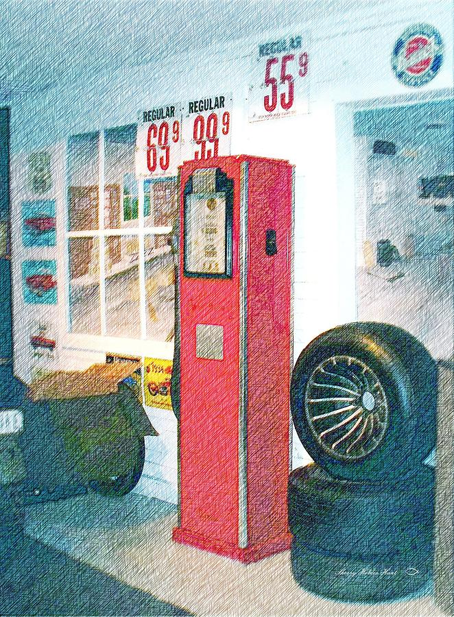 Gas Pump Photograph - Days Gone Bye by Sherry Holder Hunt