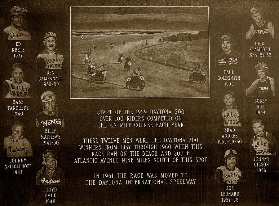 Dayton 200 Bike Race Photograph - Daytona 200 Plaque by David Lee Thompson