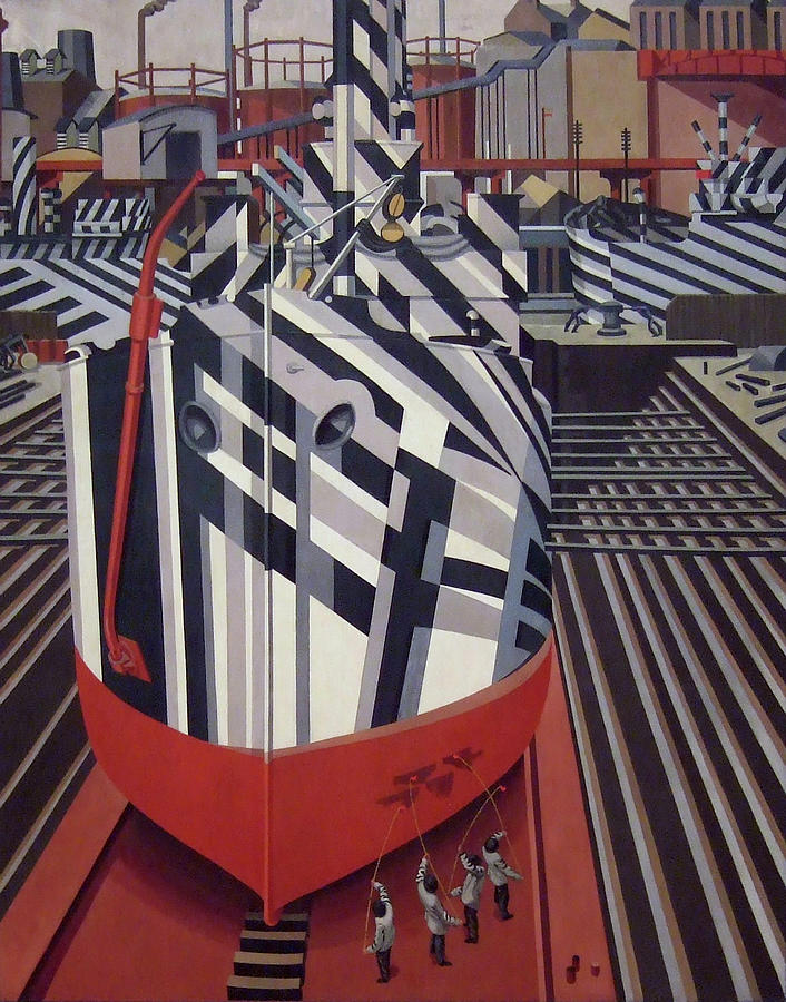 Painting Painting - Dazzle Ships In Drydock At Liverpool by Edward Wadsworth