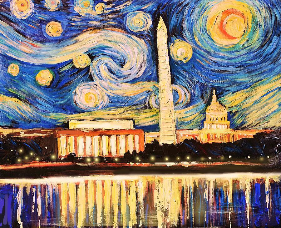 d c starry night painting by zachary sasim