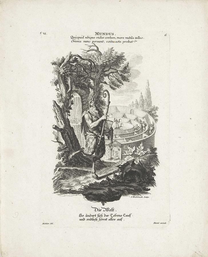 Man Painting - De Wereld, Jeremias Wachsmuth, After Gottfried Eichler II, C. 1758 - C. 1760 by Gottfried Eichler II