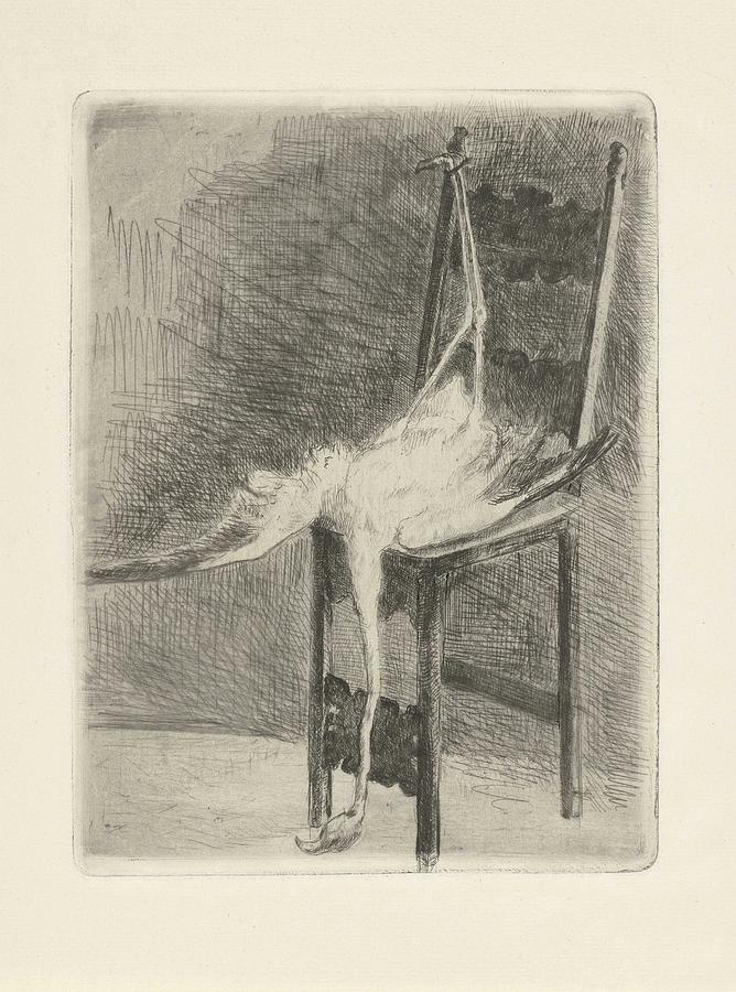 Duck Painting - Dead Flamingo With The Legs Tied To The Handrail Of A Chair, Adriaan Pit, 1870 - 1896 by Adriaan Pit
