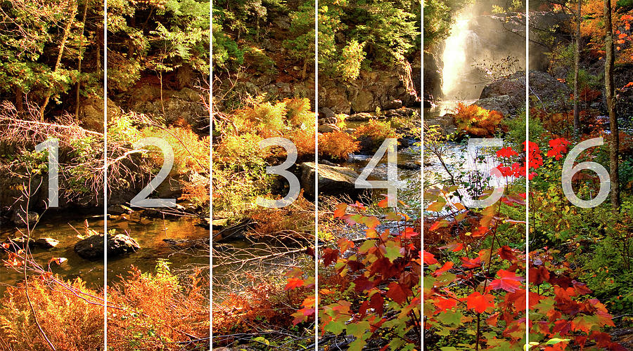 Fall Mixed Media - Dead River Falls Marquette Michigan Panoramic Map by Michael Bessler