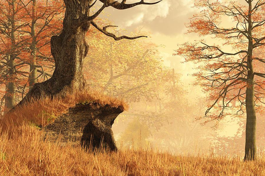 Autumn Digital Art - Dead Tree Bend by Mindscape Arts