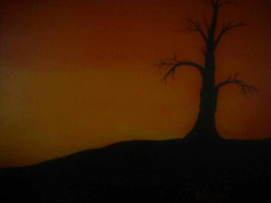 Tree Painting - Dead Tree Under The Sunset by Romelette Metz