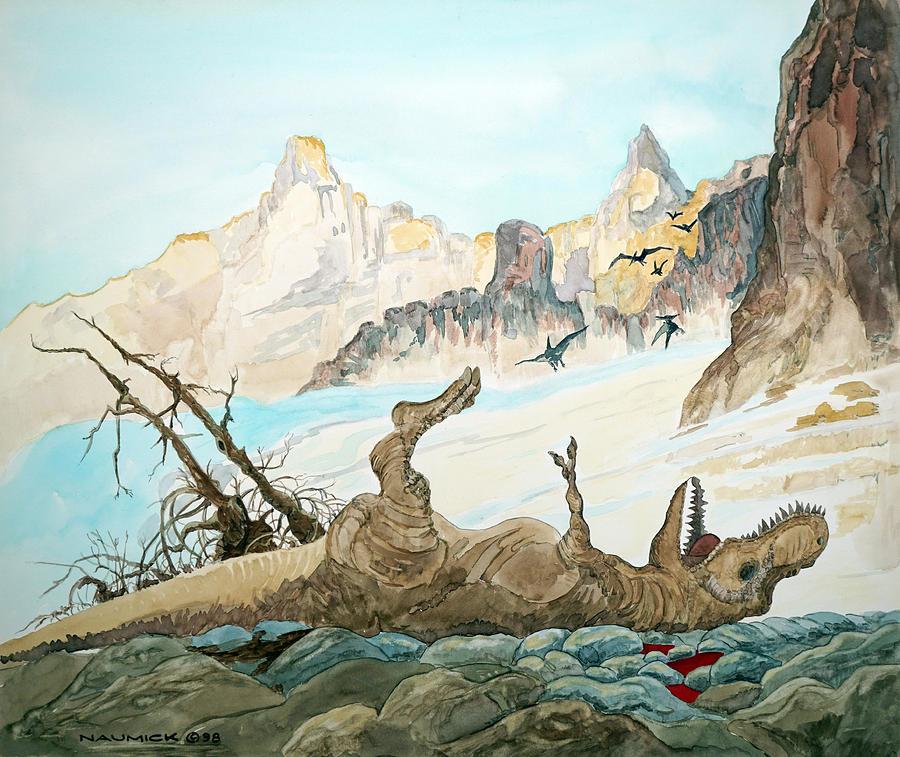Dead Tyrannosaurus Painting by Dennis Naumick