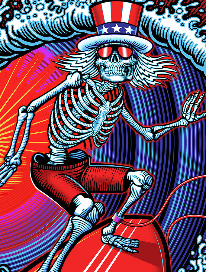 Surfing Digital Art - Deadhead Surfer by The Bear