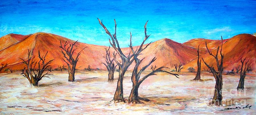 Deadvlei Painting - Deadvlei - Namibia  by Mary Sedici