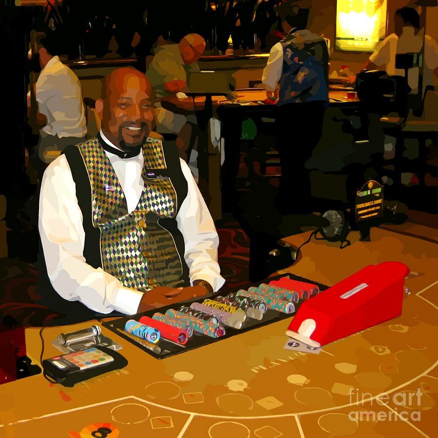 Gambling Photograph - Dealer In Las Vegas Casino by John Malone