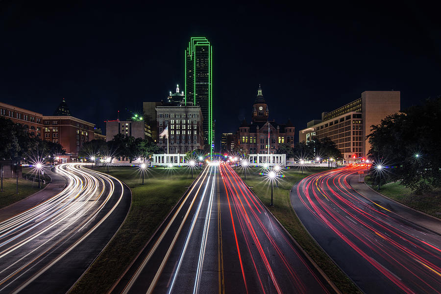 Dealey Plaza Dallas at Night by Todd Aaron