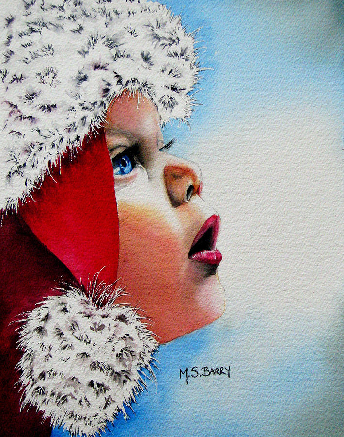Child Painting - Dear Santa by Maria Barry