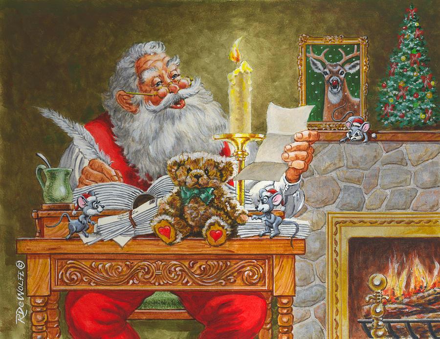 Santa Painting - Dear Santa by Richard De Wolfe