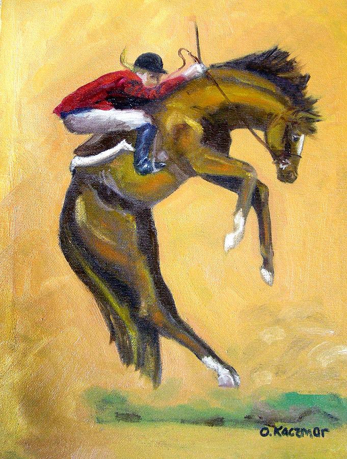 Horse Painting - Death Defying Ride by Olga Kaczmar
