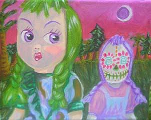 Doll Painting - Death Is Always Just Behind You And A Little To The Left by Michelley QueenofQueens