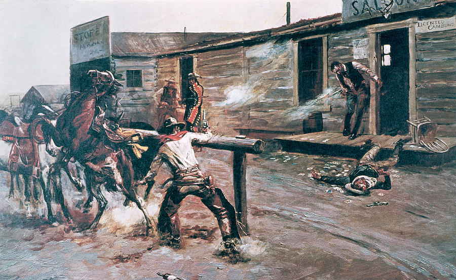 death-of-a-r-charles-marion-russell Painting Metal An Old Mobile Home on an old cabin, an old barn, an old hotel room,