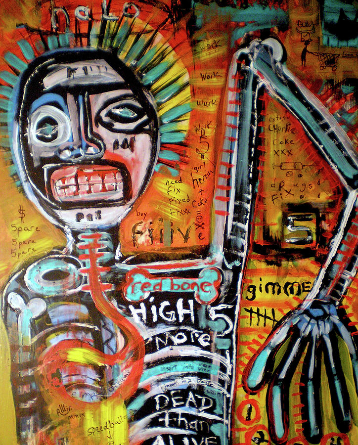 Contemporary Painting - Death Of Basquiat by Robert Wolverton Jr