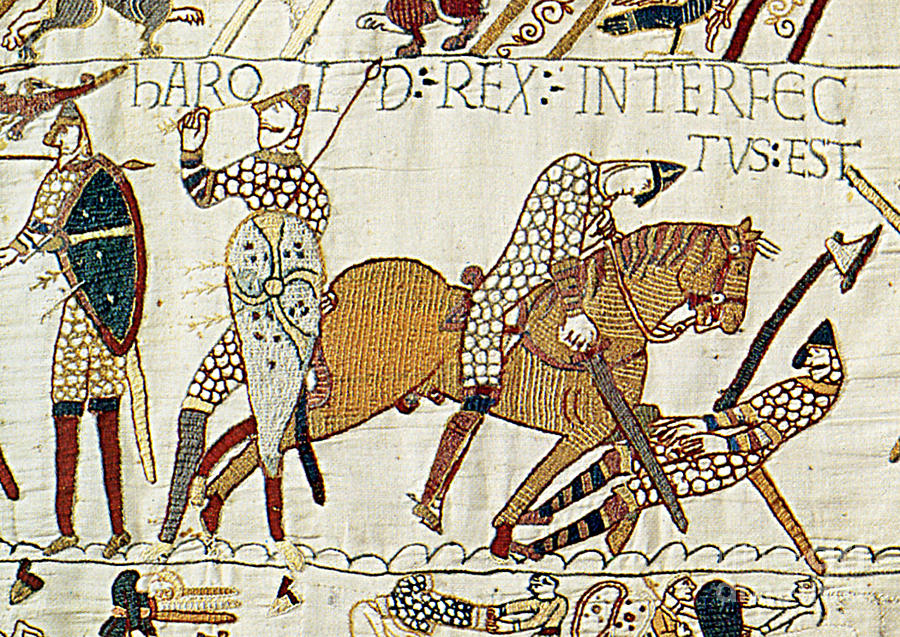 History Photograph - Death Of Harold, Bayeux Tapestry by Photo Researchers