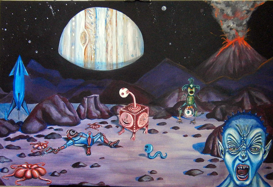 Outer Space Painting - Death On Io by Chris Benice