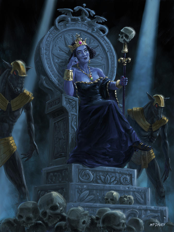 Death Queen on throne with skulls by Martin Davey