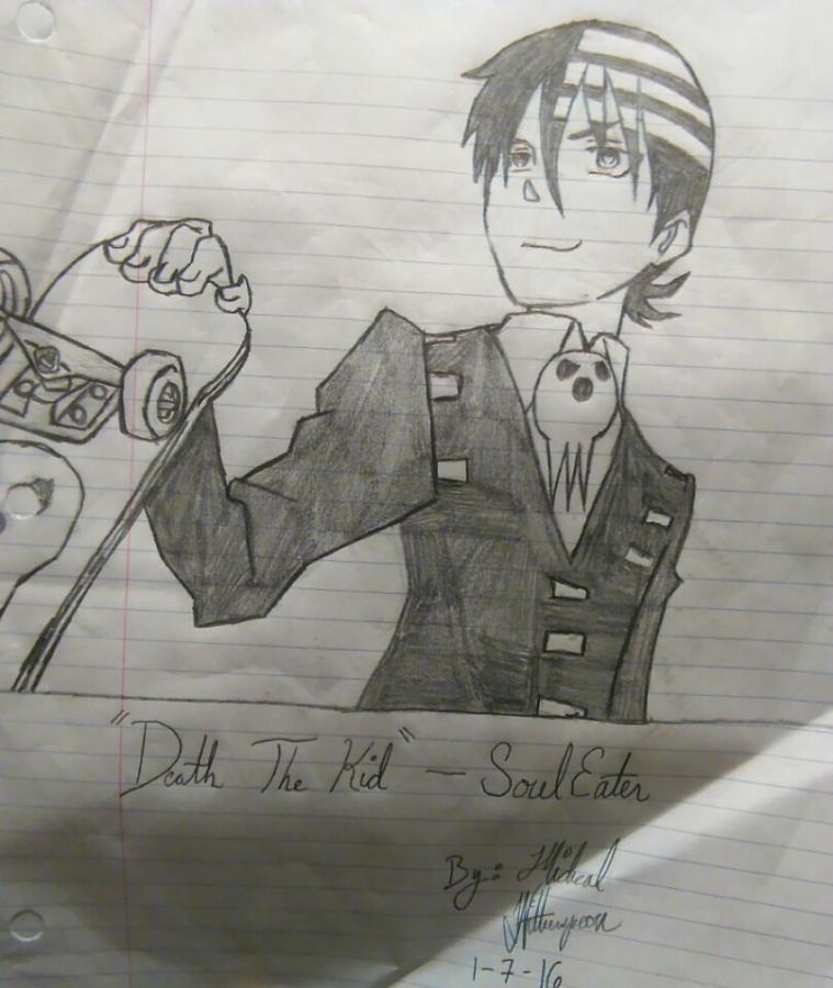 Death The Kid From Soul Eater Drawing By Michael Witherspoon