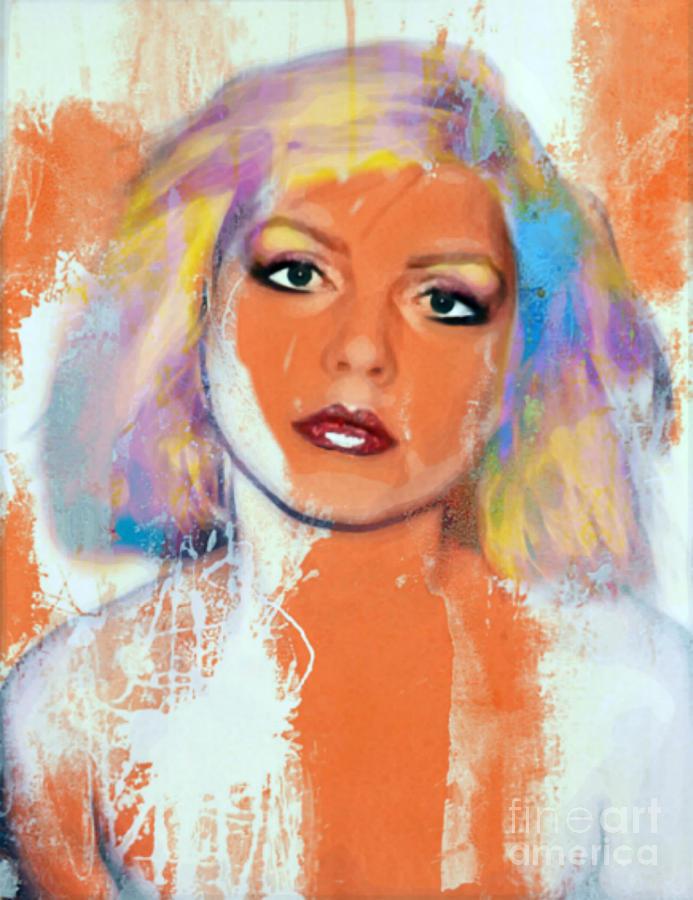 Debbie Harry Painting - Debbie Harry - Orange Funky Grunge by Felix Von Altersheim