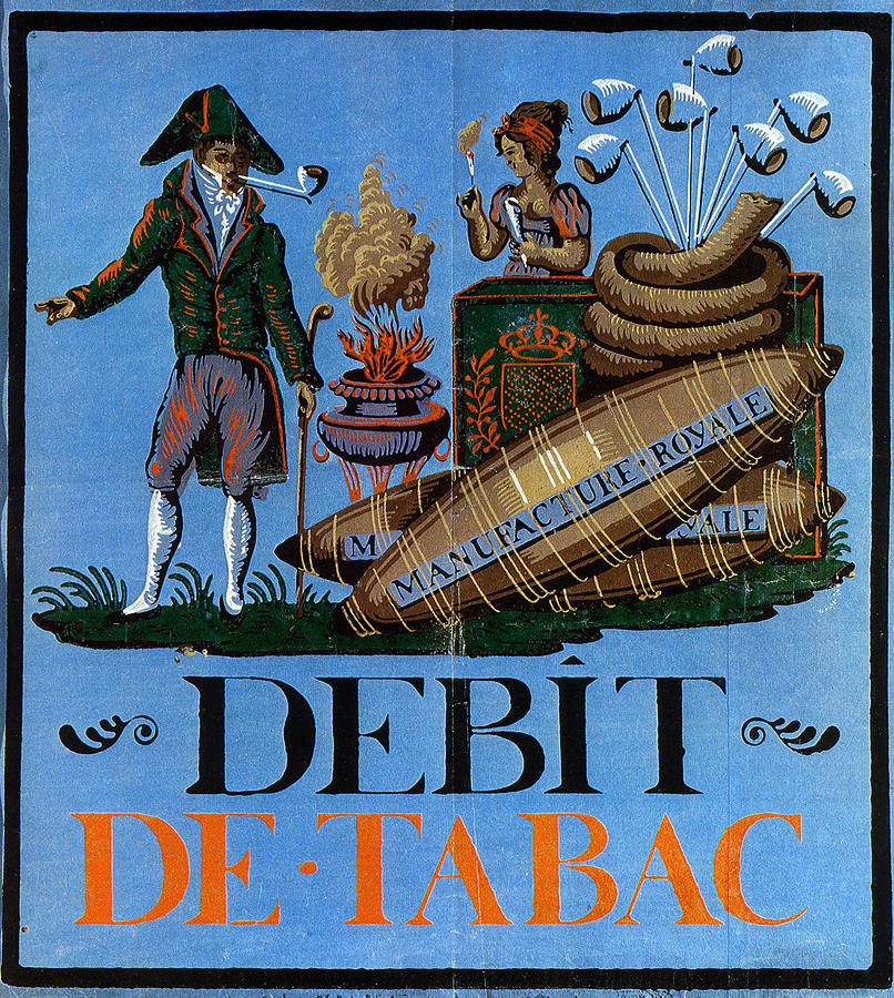 Debit De Tabac - Smoking Advertisnment - Vintage Advertising Poster Mixed Media