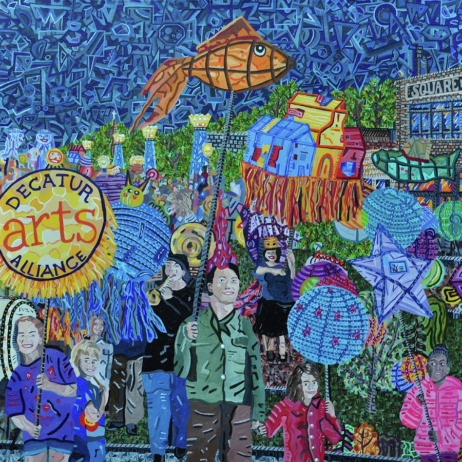 Decatur Painting - Decatur Lantern Parade by Micah Mullen