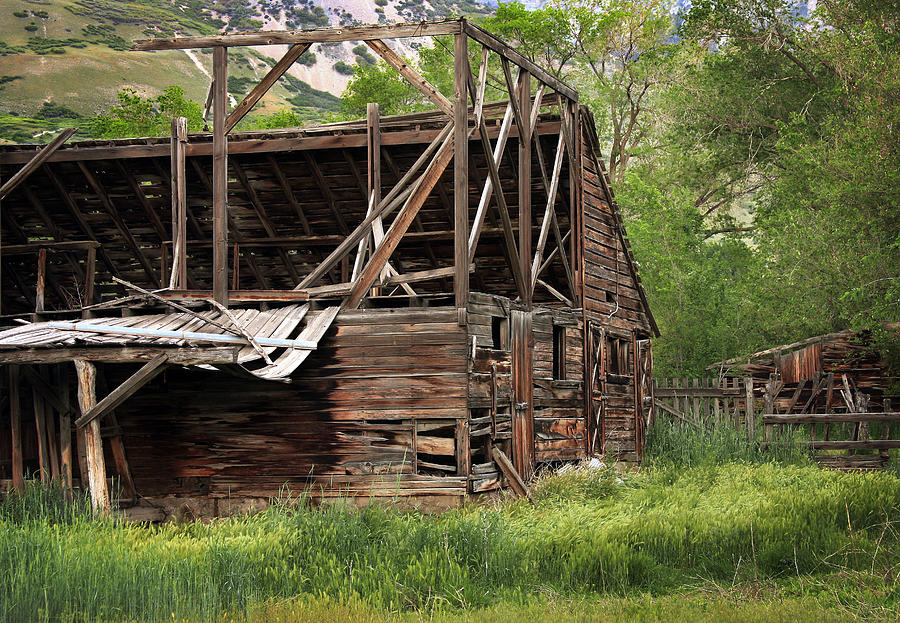 Antique Photograph - Decaying Barn by David Kocherhans