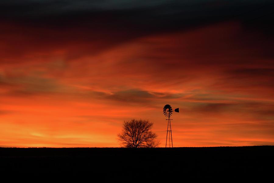 December Sunset Windmill by Julie Carter