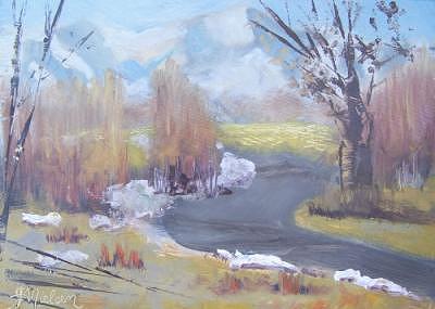 Plein Air Painting - Decembers End by Julieanne Nielsen