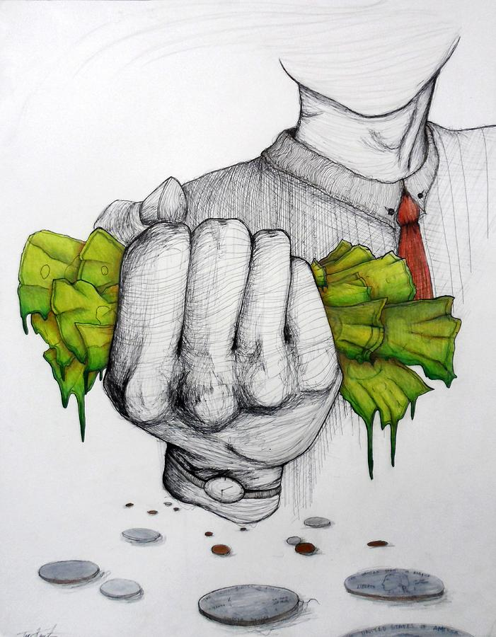 Money Drawing - Deception Of Greed by Tori Knutsen