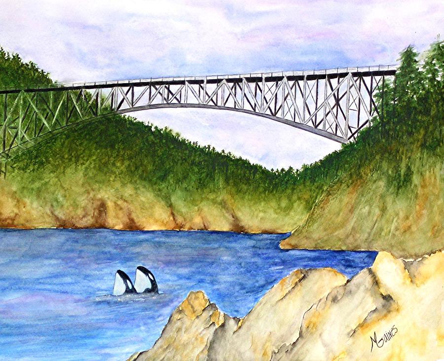 Bridges Painting - Deception Pass Bridge  by Mary Gaines