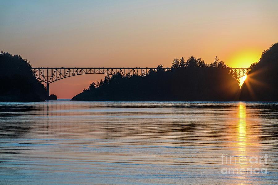 Washington State Photograph - Deception Pass Bridge Sunset Sunstar by Mike Reid