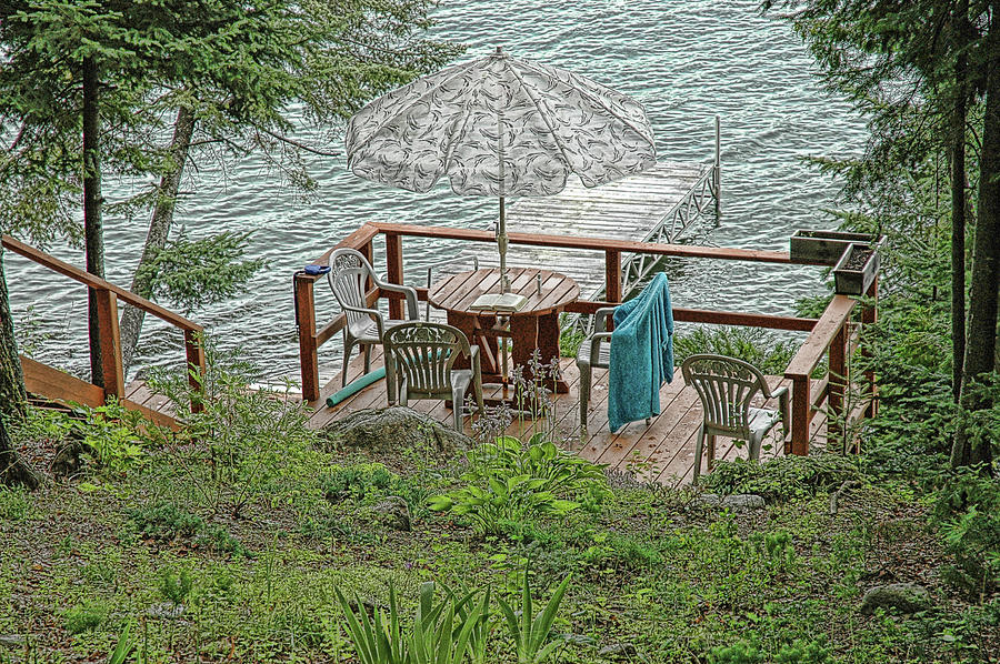 Deck Photograph - Deck At Blue Sea Lake by Ginette Thibault
