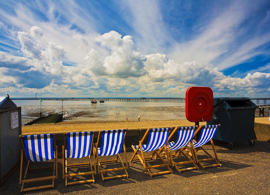 Southend On Sea Photograph - Deck chairs at Southend on Sea by Sheila Smart Fine Art Photography