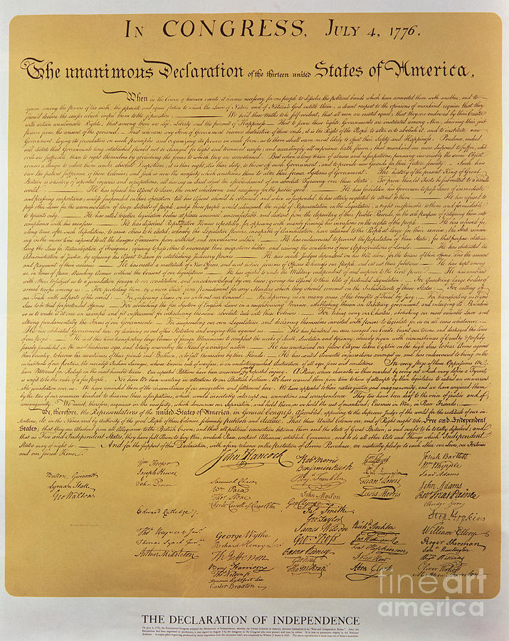 Declaration Painting - Declaration Of Independence by American School