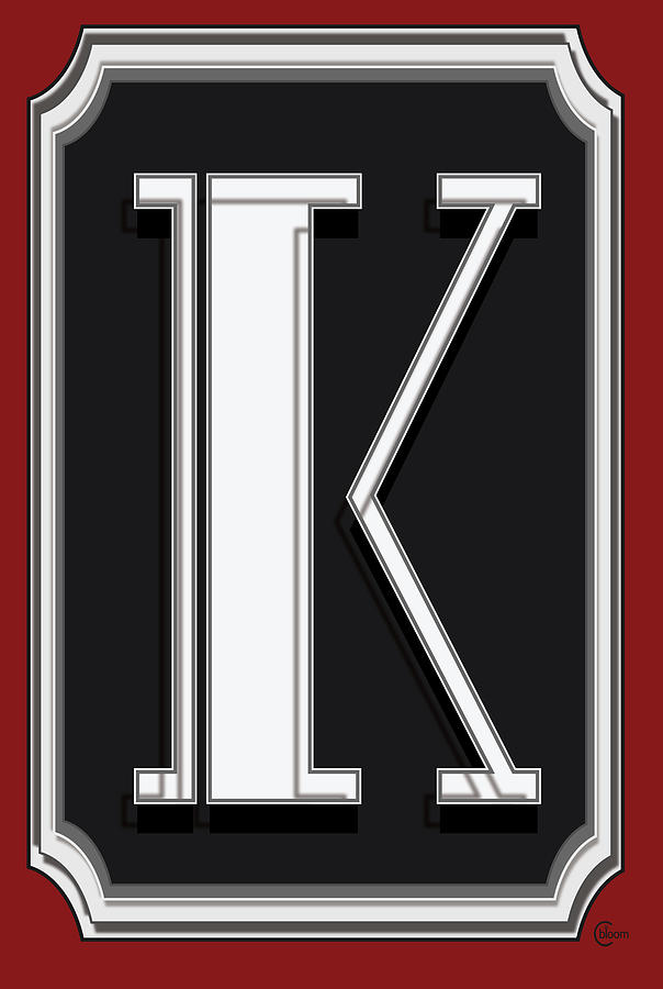 Deco Cafe Marquee  Monogram  letter K by Cecely Bloom