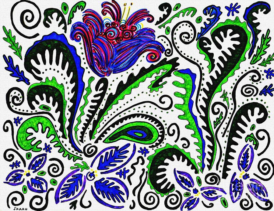 Flower Drawing - Deco Garden by Sarah Loft
