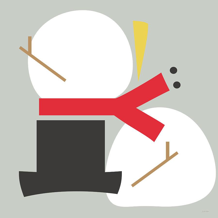 Snowman Digital Art - Deconstructed Snowman- Modern Art By Linda Woods by Linda Woods