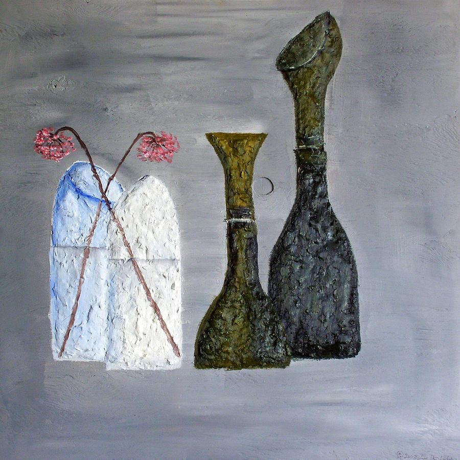 Still Life Paintings Painting - Decor Cut Bottles by Leslye Miller
