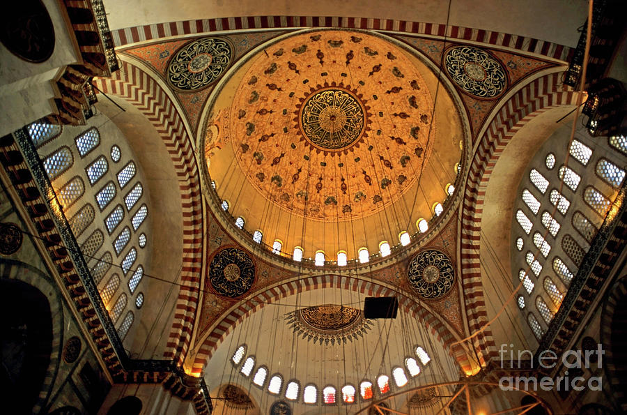 Architectural Photograph - Decorated Dome And Windows Inside The Suleymaniye Mosque In Istanbul by Sami Sarkis