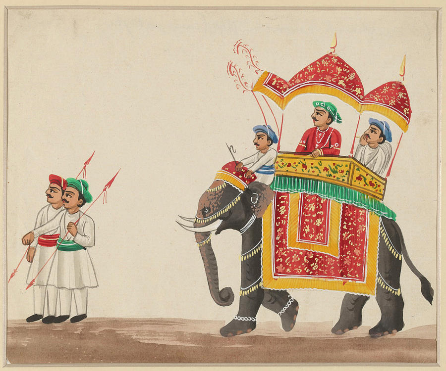 Decorated Indian Elephant With A Canopied Howdah Drawing